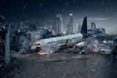 Plane crash, crashed airplane, air accident poster