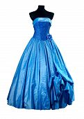 foto of evening gown  - Blue Evening dress with floral elements over white - JPG
