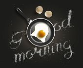 Fried egg in a frying pan with Good Morning salt lettering. Breackfast healthy background. 3D illust poster
