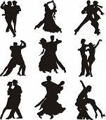 Постер, плакат: танец иконки силуэты