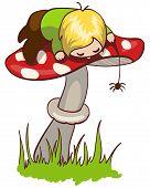 foto of baby spider  - Vector illustration of cute little boy on mushroom - JPG