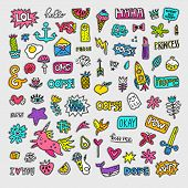 Vector patch set - 80s-90s style design. Isolated illustrations - great for stickers, embroidery, badges.
