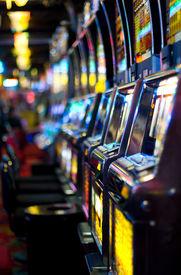 picture of slot-machine  - Row of slot machines in Las Vegas - JPG