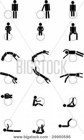 Picture or Photo of Black men do gymnastics black on the ball black and white drawing