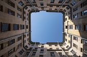 Yard Well, Against The Blue Sky. Typical Historical Buildings Of St. Petersburg. Bottom View Upwards poster