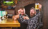 Refreshing Beer Concept. Men Drinking Beer Together. Hipster Brutal Man Drinking Beer With Friend At poster