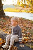 Happy Childhood. Childhood Memories. Child Autumn Leaves Background. Warm Moments Of Autumn. Toddler poster