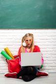 School Fashion. Creative Teen. Fashionable Girl Creative Student Chalkboard Background. Stylish Crea poster