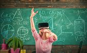 Woman In Vr Glasses. Confident Woman In Virtual Reality Headset Pointing In Air. Modern Education. B poster
