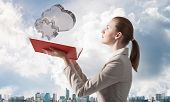 Woman Looks At Transparent Cloud And Snowflake 3d Symbols Above Opened Notebook. Online Meteorology, poster