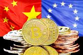 Bitcoins On The Background Of The Flag China And European Union. Concept For Investors In Cryptocurr poster