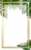 Golden Frame On The Background Of Tropical Leaves. Wedding Invitation, Floral Invite, Thank You,  Mo poster