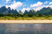 Beautiful Karst Mountains Along Li River poster