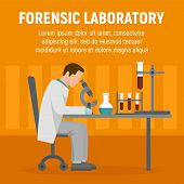 Forensic Laboratory Chemical Tube Concept Background. Flat Illustration Of Forensic Laboratory Chemi poster