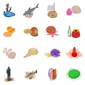 Marine Environment Icons Set. Isometric Set Of 16 Marine Environment Vector Icons For Web Isolated O poster