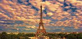 Beautiful Photo Of The Eiffel Tower In Paris, France At Sunset poster