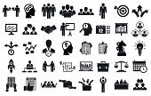 Business Planning Meeting System Icons Set. Simple Set Of Business Planning Meeting System Icons For poster