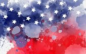 Abstract Background Banner With Watercolor Splashes In Flag Colors For Usa. Template Background For  poster