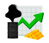 Crude Oil With Pointing Up Graph And Gold Bar Symbol Green Arrow Isolated White Background, Black Me poster