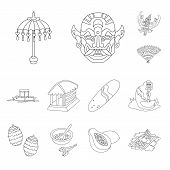 Vector Design Of Balinese And Caribbean Symbol. Collection Of Balinese And Geography Vector Icon For poster
