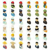 Profession Icons Set. Isometric Illustration Of 36 Profession Icons For Web poster