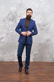 Elegant Man With Beard. Modern Life. Male Elegant Fashion Model. Mature Elegant Businessman Walking. poster
