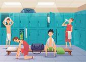 School Locker Room. Sport Gym Locker With Kids In College Vector Cartoon Background. Locker Room Gym poster