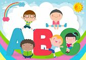 Cartoon Children With Abc Letters, School Kids With Abc, Children With Abc Letters,vector Illustrati poster