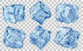 Set Of Six Realistic Translucent Ice Cubes In Blue Color Isolated On Transparent Background. Transpa poster