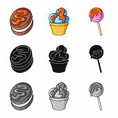 Isolated Object Of Confectionery And Culinary Symbol. Set Of Confectionery And Product Vector Icon F poster