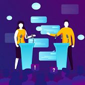 Vector Concept Illustration -  Political Meeting, Girl And Man On A Tribune. Modern Bright Banner Te poster