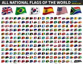 All National Flags Of The World . Waving Flag Design . Vector . poster