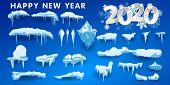 2020 Snow Caps, Snowballs And Snowdrifts Set. Snow Cap Vector Collection. Winter Decoration Element. poster
