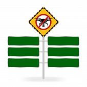 No Drone Zone Warning Sign And Green Sign Boards Template For Copy Space Of Text Message, Flights Wi poster