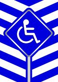Disabled Signs On Frame Blue Stripe Colors Background, Sign Boards Of Disability Slope Path Ladder W poster