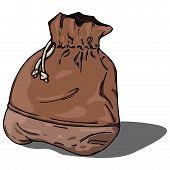 Cloth Bag Icon. Vector Illustration Of A Cloth Bag. Hand Drawn Old Cloth Bag. poster