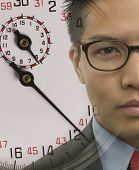 picture of superimpose  - Young businessman with superimposed stopwatch image - JPG