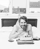 Author Having Breakfast In Bed Drink Coffee. Morning Inspiration. Coffee Inspiring Him To Write. Wri poster