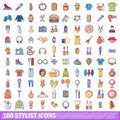 100 Stylist Icons Set. Cartoon Illustration Of 100 Stylist Icons Isolated On White Background poster
