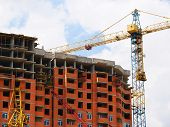 Background Of The Construction Site . Self-erecting Crane At The Construction Site. Construction Bui poster