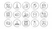 Cleaning Line Icons. Laundry, Window Sponge And Vacuum Cleaner. Washing Machine Linear Icon Set. Lin poster