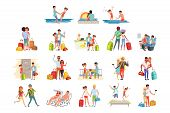 People Traveling Set, Family Couple With Luggage On Vacation Vector Illustrations On A White Backgro poster