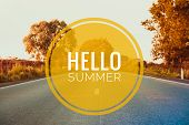 Hello Summer Banner. Text On The Photo. Text Hello Summer. New Month. New Season. Summer. Text On Ph poster