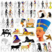 stock photo of horus  - Vector set of motifs of ancient Egypt  - JPG