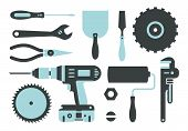stock photo of pipe wrench  - Vector set of repairing tools simple style 2 colors - JPG