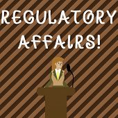 Handwriting Text Writing Regulatory Affairs. Concept Meaning The Desire Of Governments To Protect Pu poster