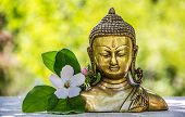 Golden Antique Buddha Statue. Buddha Statue And And Flowering Quince. Buddha Head poster