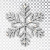 Silver Snowflake Isolated On A Transparent Background. Christmas Decoration, Covered Bright Glitter. poster