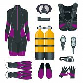 Womans Scuba Gear And Accessories. Equipment For Diving. Idiver Wetsuit, Scuba Mask, Snorkel, Fins,  poster