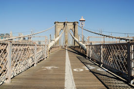 image of brooklyn bridge  - Bike and Pedestrian Lanes on the Brooklyn Bridge New York - JPG